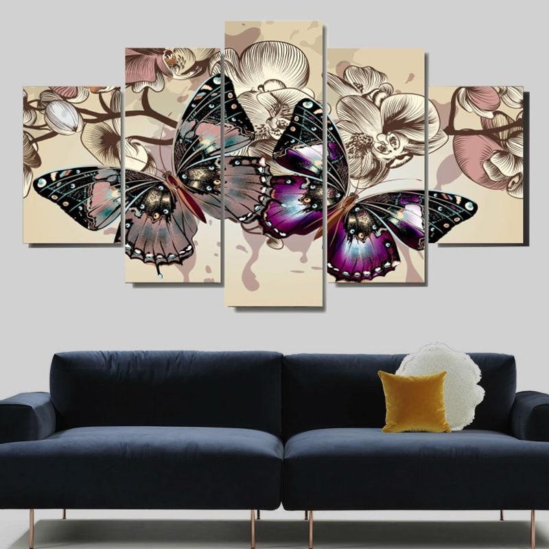 Abstract Butterfly Wall Canvas Art Painting – Canvas Store Throughout Abstract Butterfly Wall Art (View 3 of 20)