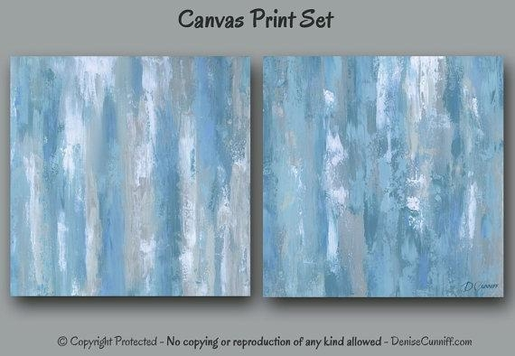 Abstract Canvas Art Print Set Blue & Gray Home Decor Large Throughout Blue Green Abstract Wall Art (View 13 of 20)