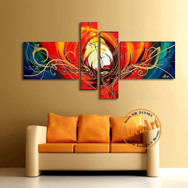 Abstract Canvas Oil Painting Handmade Modern Abstract Wall Art For Abstract Wall Art For Living Room (Image 4 of 15)