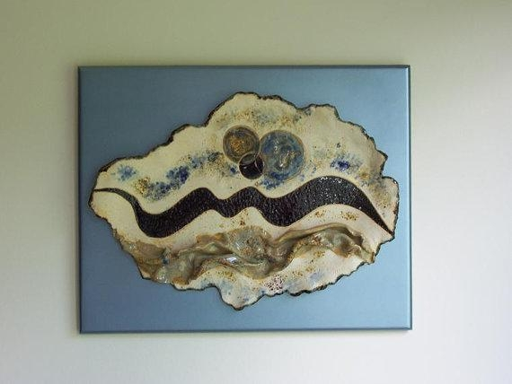 Abstract Ceramic Wall Art Sculpture Blue White Contemporary Clay Throughout Abstract Ceramic Wall Art (Image 6 of 16)