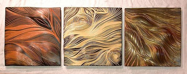 Abstract Ceramic Wall Tiles In Warm Tonesnatalie Blake For Abstract Ceramic Wall Art (Image 7 of 16)