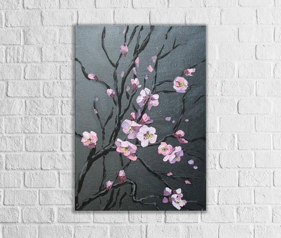 Abstract Cherry Blossom Tree Original Canvas Art Dark Painting Inside Abstract Cherry Blossom Wall Art (View 16 of 20)