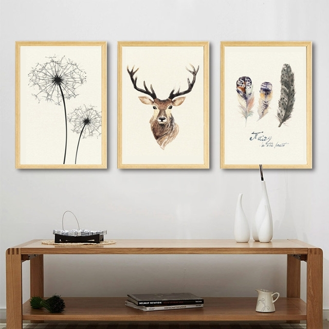 Abstract Deer Canvas Painting Dandelion Feather Nordic Posters And Throughout Abstract Deer Wall Art (Image 4 of 15)
