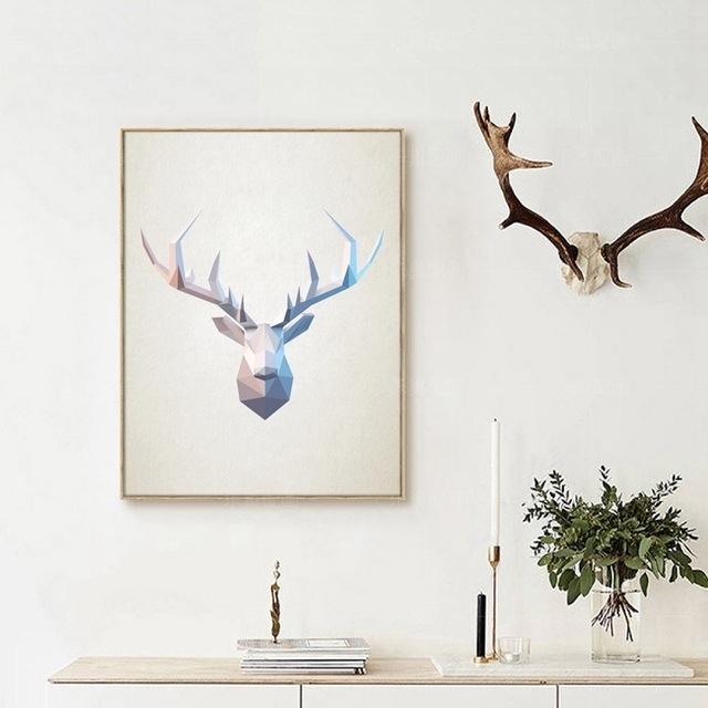 Abstract Deer Head Wall Art Print Pictures , Geometric Polygonal Regarding Abstract Deer Wall Art (View 2 of 15)