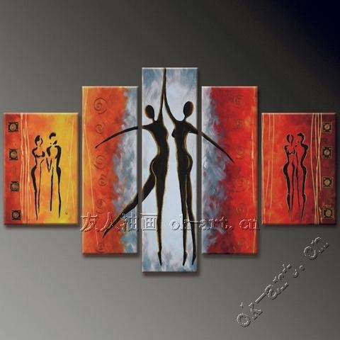 Abstract Female Body Oil Painting Beauty Dance 5 Panel Black White For Abstract Body Wall Art (Image 4 of 20)