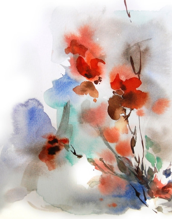 Abstract Floral Art Print, Watercolor Painting, Abstract Painting With Regard To Abstract Floral Wall Art (Image 3 of 15)