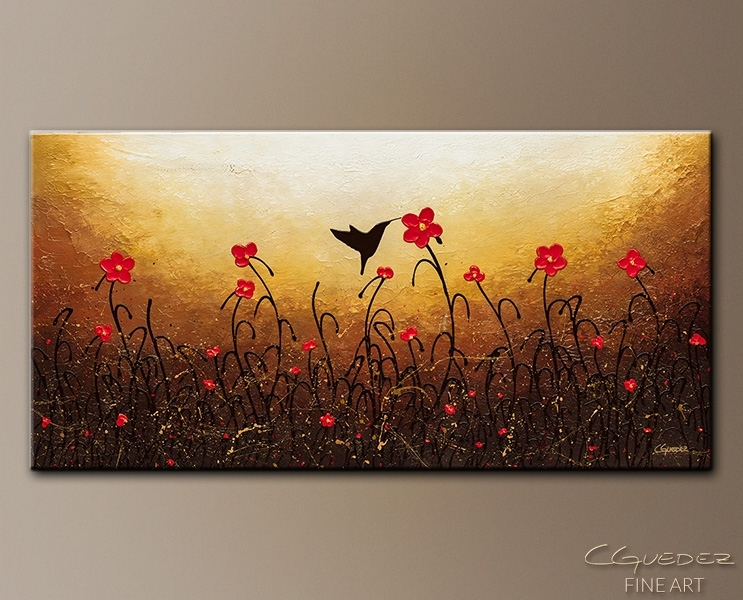 Abstract Flower Art Painting Lovely Bird – Red Flower Painting Inside Abstract Flower Wall Art (Image 4 of 15)