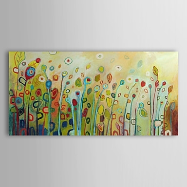 Abstract Flower Floral Oil Painting Wall Art With Stretched And With Regard To Abstract Floral Canvas Wall Art (Image 3 of 15)