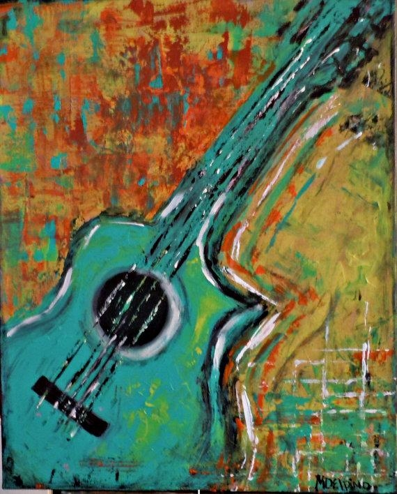 Abstract Guitar Original Painting Music Wall Art Largeadoraart Regarding Abstract Musical Notes Piano Jazz Wall Artwork (Image 4 of 20)