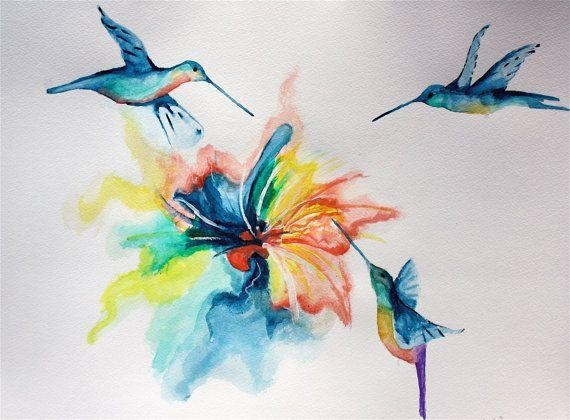 Abstract Hummingbirds Watercolor Painting Rainbow Nature Animal Throughout Abstract Bird Wall Art (View 20 of 20)