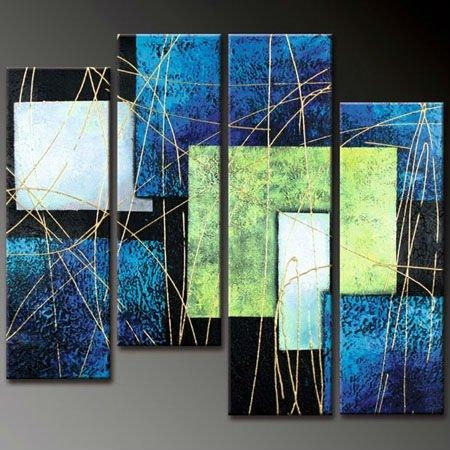 Abstract Lines – Cheap Oil Paintings In Blue Green Abstract Wall Art (Image 4 of 20)