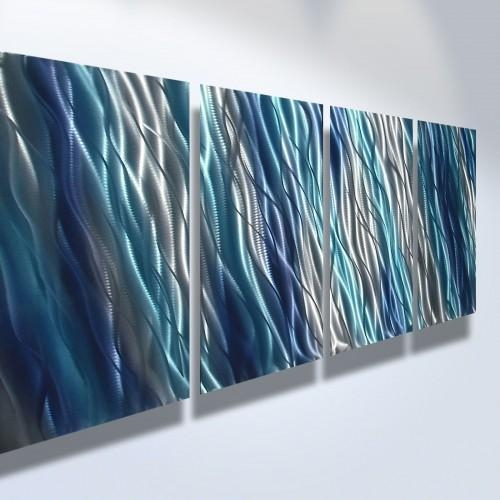 Abstract Metal Art Wall Art Modern Decor Sculpture Blue Reef For Blue Abstract Wall Art (Image 2 of 20)