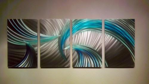 Abstract Metal Wall Art Modern Decor Sculpture Tempest Blue Green For Blue Green Abstract Wall Art (View 7 of 20)