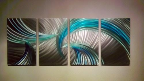Abstract Metal Wall Art  Modern Decor Sculpture Tempest Blue Green Throughout Blue Abstract Wall Art (Image 3 of 20)