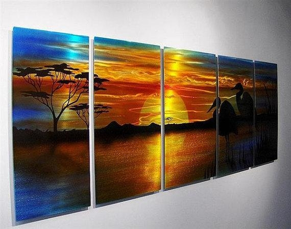 Abstract Metal Wall Art Painting Geese Swans Birds Sunset Beach Intended For Abstract Beach Wall Art (View 10 of 20)