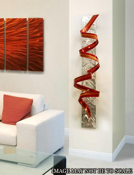 Abstract Metal Wall Art Sculpture / Red Orange Phoenix Twist With Regard To Sculpture Abstract Wall Art (Image 5 of 20)