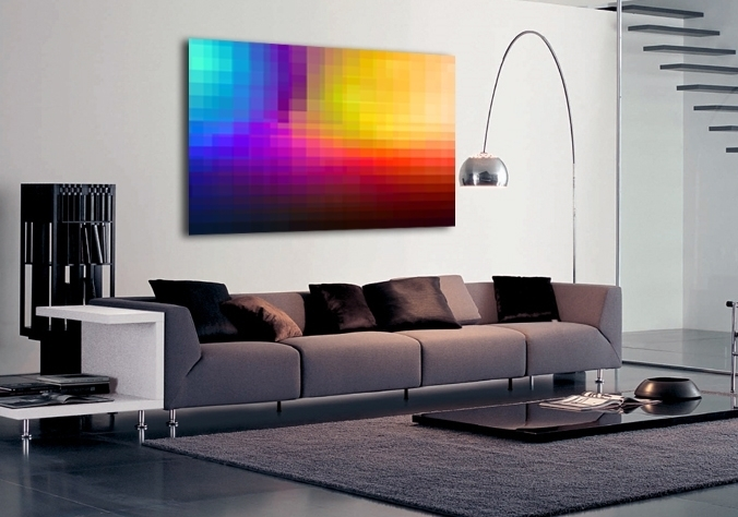 Abstract Multi Coloured Pixelated Canvas Art| Buy Abstract Multi Within Colourful Abstract Wall Art (Image 2 of 15)