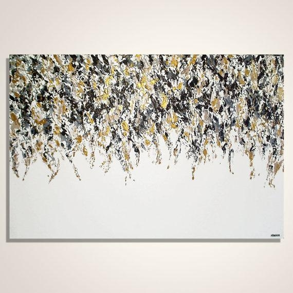 Abstract Painting Gold Black And White Abstract Art Intended For Black And Gold Abstract Wall Art (View 10 of 20)
