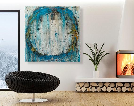 Abstract Painting – Large Original Circle Wall Art – 32X32 Modern With Abstract Circles Wall Art (Image 5 of 20)