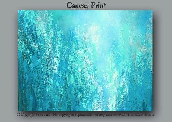 Abstract Painting – Oversized Canvas Print, Large Wall Art, Teal Pertaining To Aqua Abstract Wall Art (View 7 of 20)