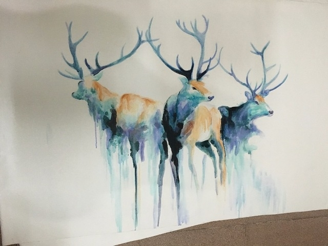 Abstract Painting Watercolor Blue Classic Horse Deer Goat Wall Art With Abstract Deer Wall Art (Image 6 of 15)