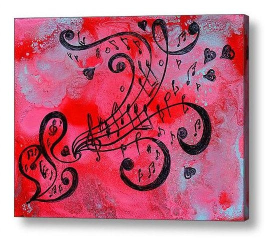 Abstract Print, Music Painting, Abstract Music Art Print, Love Art Pertaining To Abstract Musical Notes Piano Jazz Wall Artwork (Image 5 of 20)