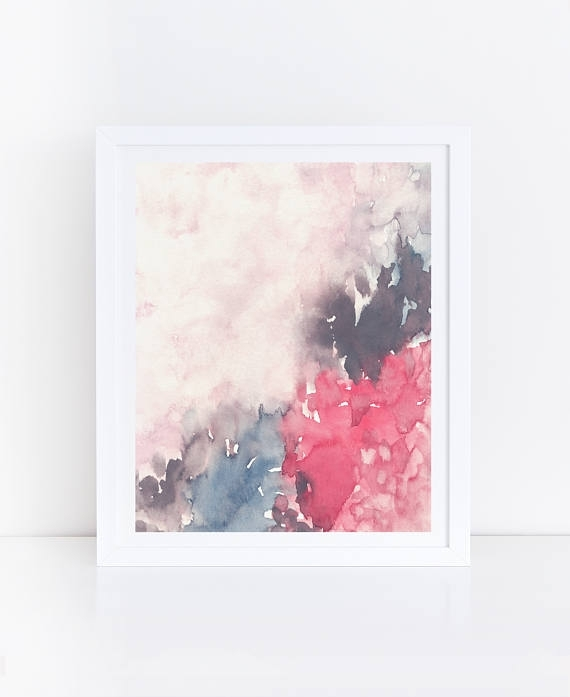 Abstract Printable Art Watercolor Flowers Floral Wall Art Within Printable Abstract Wall Art (Image 2 of 15)