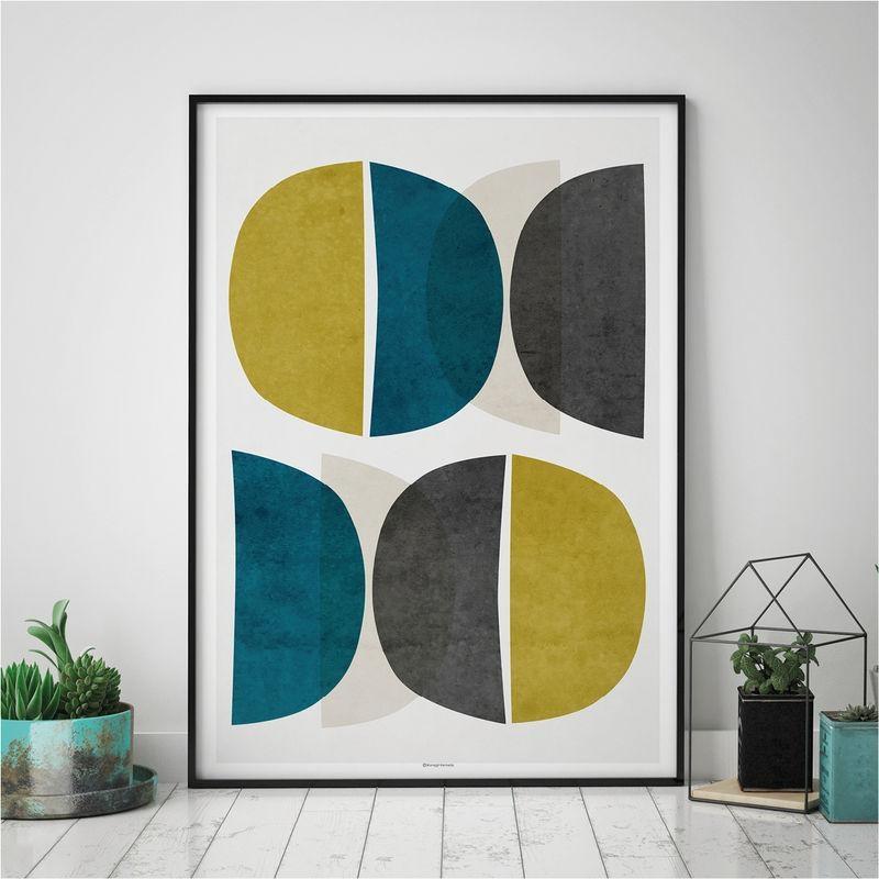 Abstract Wall Art – Modern Art Prints – Minimalist Print – Yellow Within Abstract Wall Art Prints (Image 6 of 20)