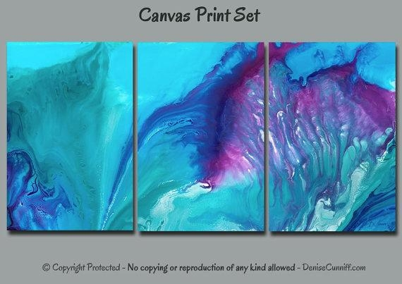 Abstract Wall Art Watercolor Multi Panel Canvas Art Print In Aqua Abstract Wall Art (View 4 of 20)
