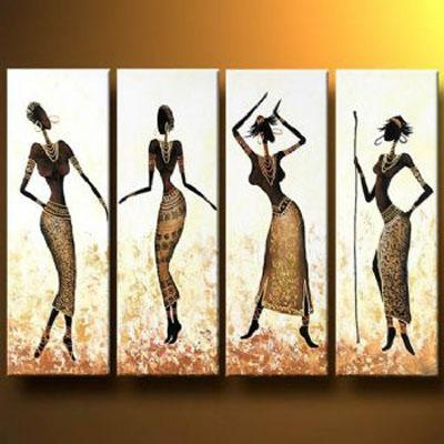 African Girls Dance In Gold Oil Painting Abstract Wall Art With Throughout Framed Abstract Wall Art (Image 6 of 20)