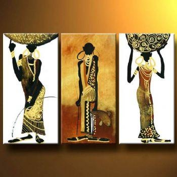 African Tribute Modern Canvas Art Wall Decor Abstract Oil Painting Throughout Abstract African Wall Art (Image 11 of 20)