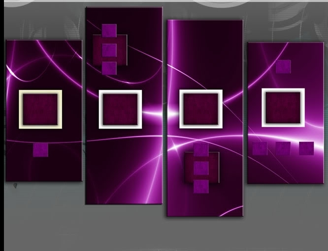 Ahead Deep Purple Abstract 4 Panel Wall Art Picture 40 Inch 101Cm Throughout Dark Purple Abstract Wall Art (View 2 of 15)