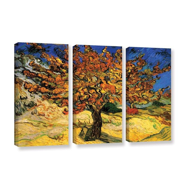 Alcott Hill 'mulberry Tree'vincent Van Gogh 3 Piece Painting For Vincent Van Gogh Multi Piece Wall Art (Image 2 of 20)