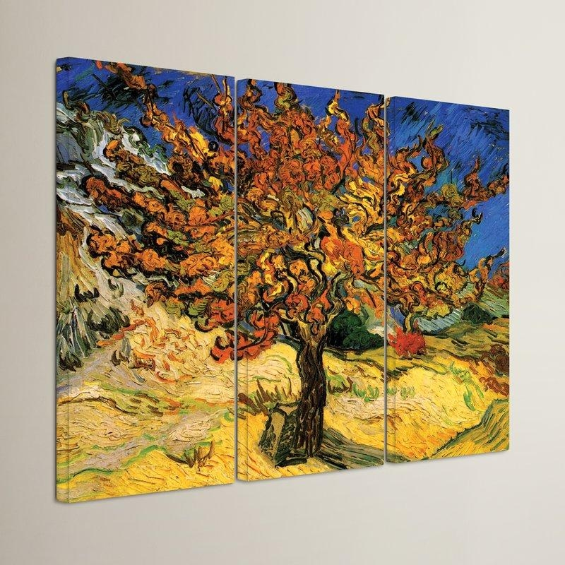 Alcott Hill 'mulberry Tree'vincent Van Gogh 3 Piece Painting Throughout Vincent Van Gogh Multi Piece Wall Art (View 9 of 20)