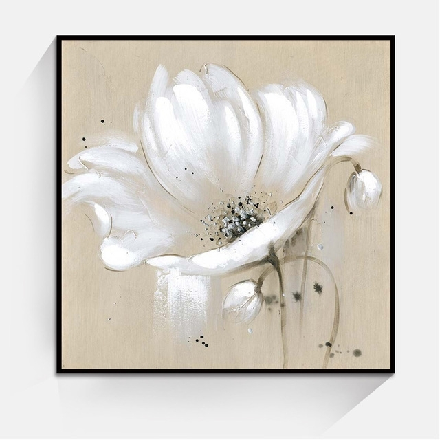 Aliexpress : Buy White Color Abstract Flower Wall Art Oil For Abstract Flower Wall Art (View 10 of 15)