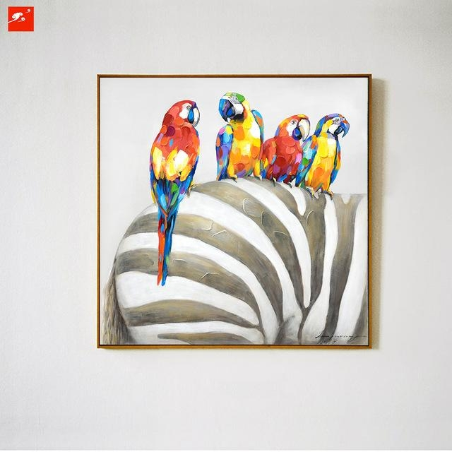 Animal Wall Art Elephant Zebra Abstract Parrot Hand Painted Oil With Regard To Abstract Animal Wall Art (View 3 of 20)