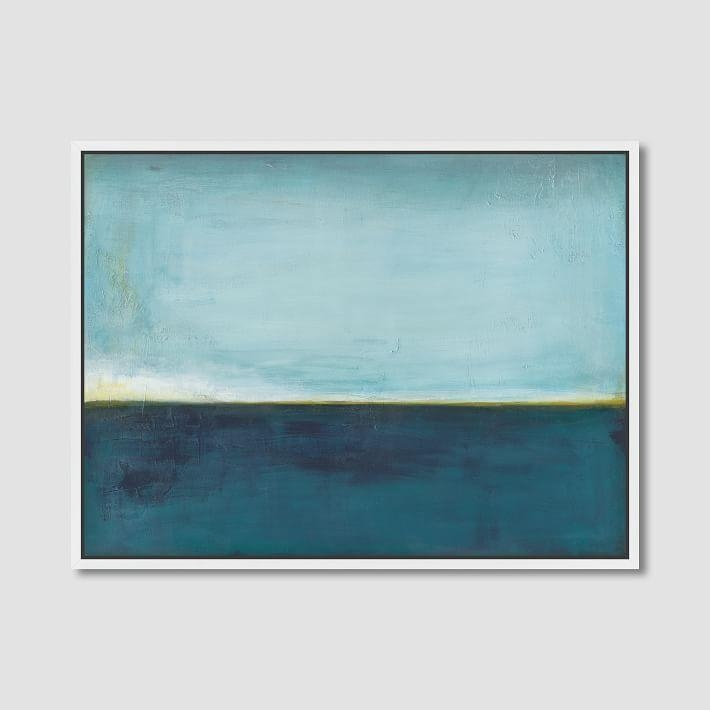 Aqua Horizon Wall Canvas Art For Aqua Abstract Wall Art (Image 5 of 20)
