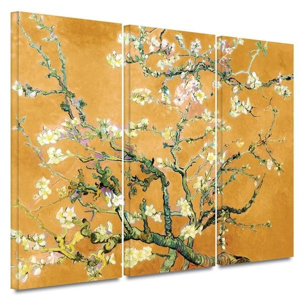 Art Wall Vincent Van Gogh '3 Piece Almond Blossom Interpretation With Almond Blossoms Vincent Van Gogh Wall Art (Image 7 of 20)