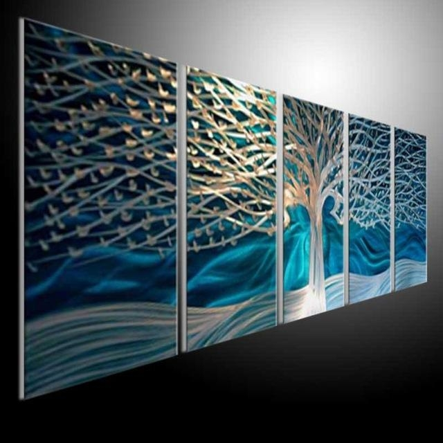 Artwork Metal Wall Art Painting Abstract Wall Artwork Contemporary Regarding Aqua Abstract Wall Art (Image 6 of 20)