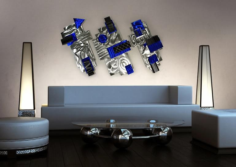 Aviator – Silver, Blue & Black Abstract 3D Metal Wall Art With Abstract Metal Wall Art (View 2 of 20)