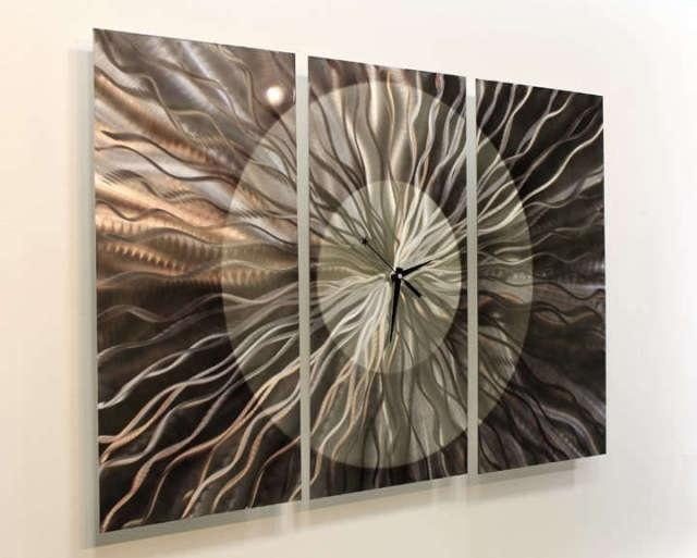Awesome Abstract Modern Metal Large Wall Clock Art Sculpture Home Intended For Abstract Clock Wall Art (View 14 of 20)