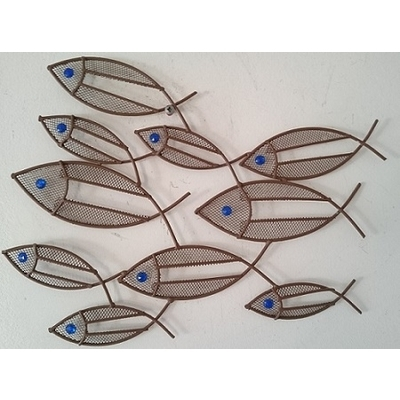 Awesome Contemporary Metal Wall Art Mini Fish Shoal Wall Art Throughout Abstract Metal Fish Wall Art (Image 4 of 15)