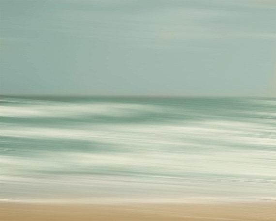 Beach Art Print Abstract Surreal Blue Gray Green Beach House Throughout Abstract Beach Wall Art (View 13 of 20)