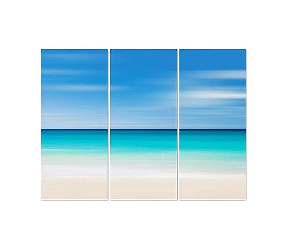 Beach Canvas Art, 3 Panel Triptych, Large Abstract Ocean Art Intended For Abstract Beach Wall Art (View 8 of 20)