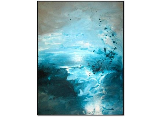 Beautiful Gray Teal Aqua Abstract Art Painting (Image 7 of 20)
