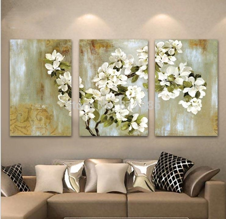 Best Hand Painted Abstract White Floral Picture Wall Flower Oil Intended For Abstract Floral Canvas Wall Art (Image 4 of 15)