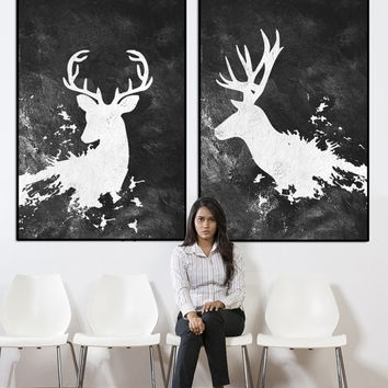 Best Large Abstract Canvas Art Products On Wanelo With Abstract Deer Wall Art (Image 7 of 15)
