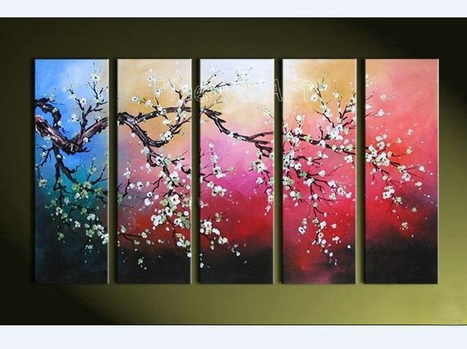 Best Quality Modern Abstract Wall Canvas Art Large Decorative Regarding Cherry Blossom Oil Painting Modern Abstract Wall Art (Image 4 of 20)