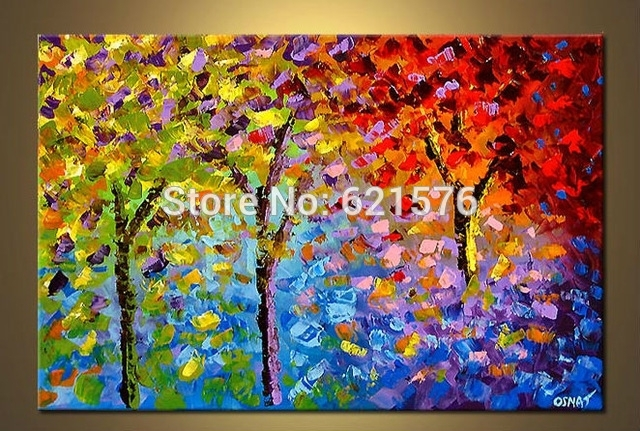 Big Hand Painted Modern Living Room Home Decor Abstract Wall Art In Colourful Abstract Wall Art (Image 3 of 15)