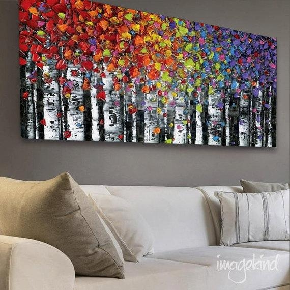 Birch Trees Abstract Wall Art Print Largemodernhouseart | Art With Regard To Abstract Wall Art Canvas (View 3 of 20)
